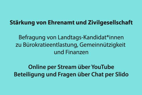 YouTube Livestream: Stärkung von Ehrenamt und Zivilgesellschaft